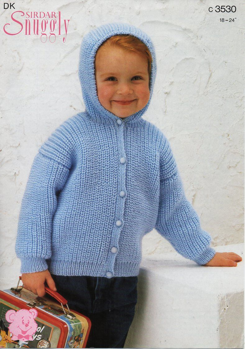 be2528aef baby childs hooded jacket knitting pattern PDF fishermans rib ...