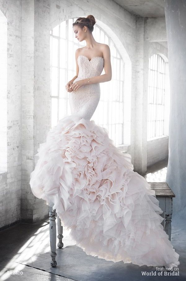 Lazaro Spring 2016 Blush Textured Fit To Flare Bridal Gown Strapless Sweetheart Neckline Beaded