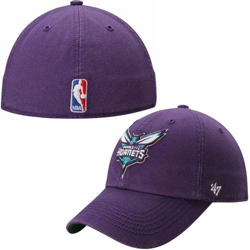 new product 748a2 98986 Mens Charlotte Hornets  47 Brand Purple Current Logo Franchise Fitted Hat