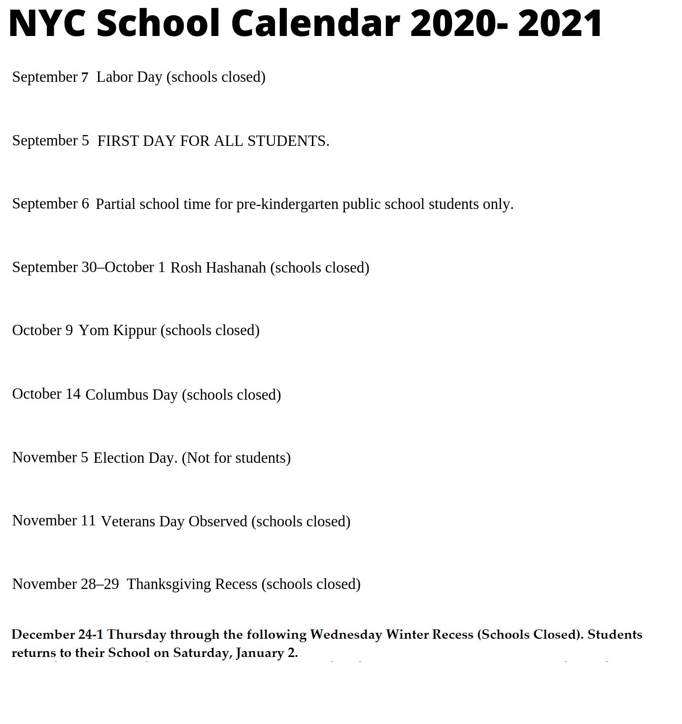 Nyc Schools Calendar 2021 | 2022 Calendar