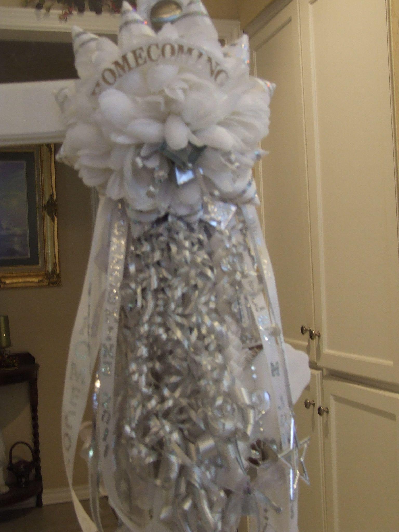 Senior Silver And White Homecoming Mum Garter For The Guys