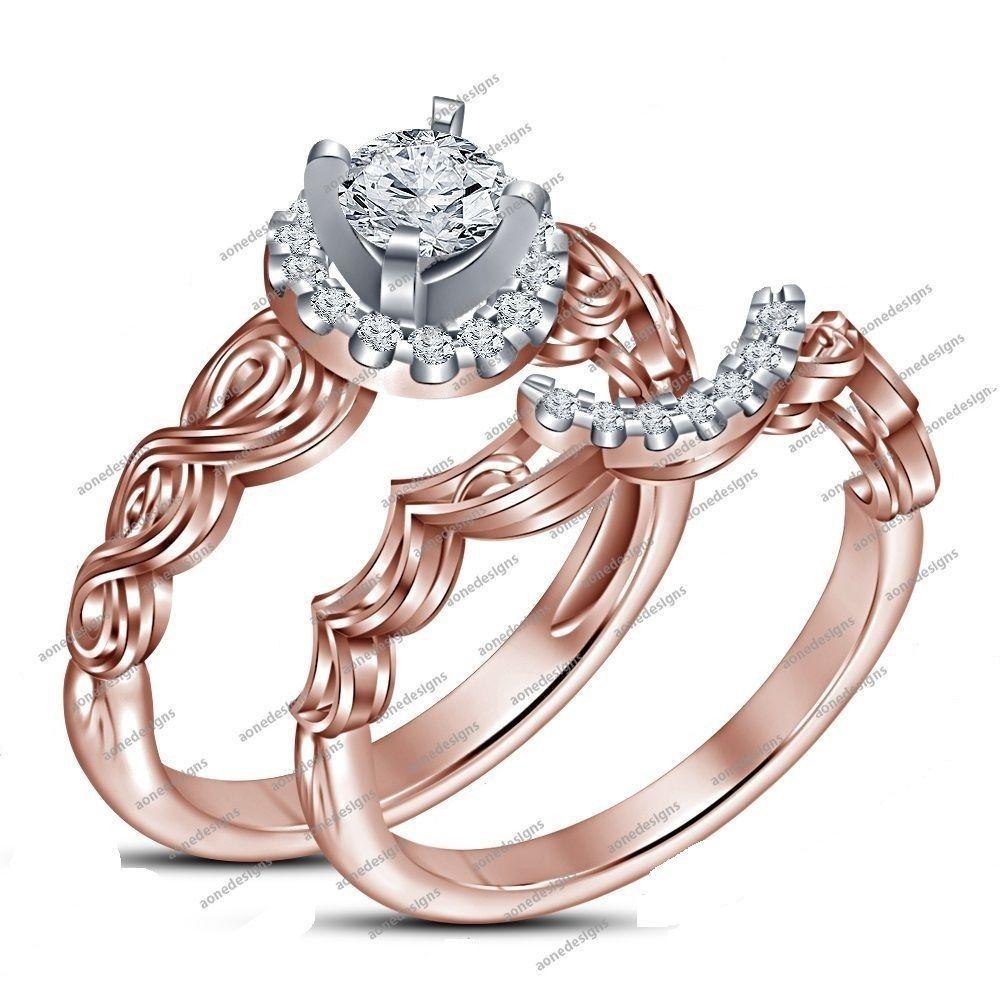 Elegant Design 1.20 CT Round D/VVS1 Diamond 925 Silver Bridal Ring Set Sz 5-11 #aonedesigns
