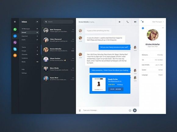 Chat dashboard - PSD app concept | UI Design | Dashboard ui