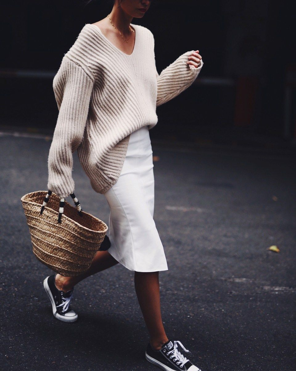 7a77e6a7fb8 Oversized sweater tucked into pencil skirt