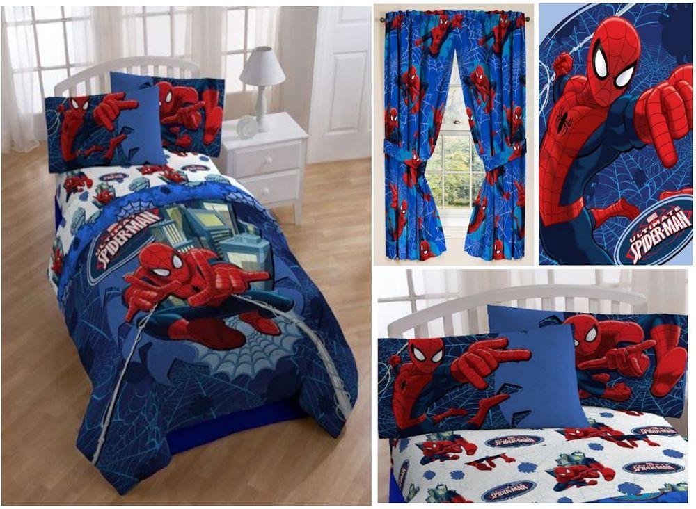 Kids Boys Spiderman Bedding Bed In A Bag Comforter Set Marvel Spiderman Bed Spiderman Room Boys Bedroom Makeover