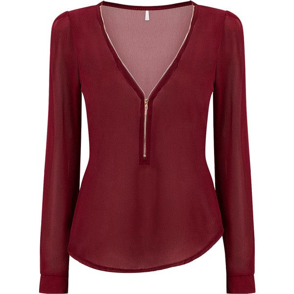 2373eae9cca Yoins Burgundy Zipper Front Chiffon Blouse (£8.21) ❤ liked on Polyvore  featuring tops. Red ChiffonChiffon ShirtChiffon BlousesRed BlousesShirt  BlousesLong ...
