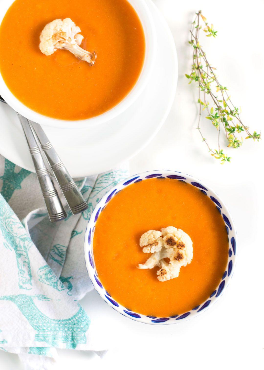 Vegan Roasted Red Pepper Cauliflower Soup Recipe Soups