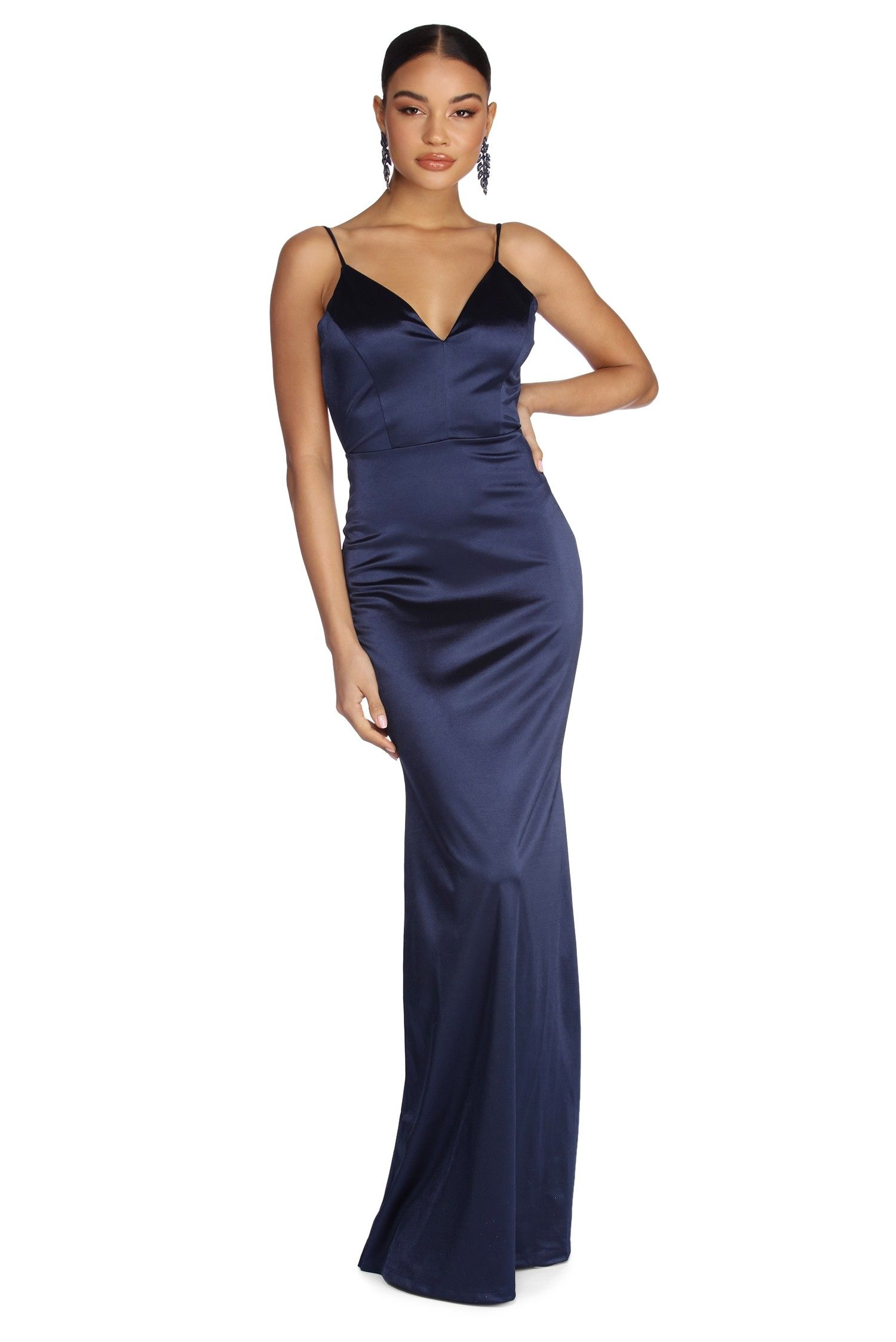 1bb52cfc8bd Aria Formal Satin Ruched Dress in 2019