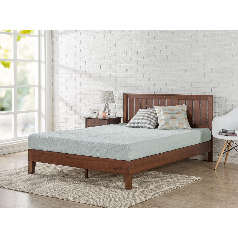 Priage by Zinus Deluxe Antique Espresso Wood Platform Bed