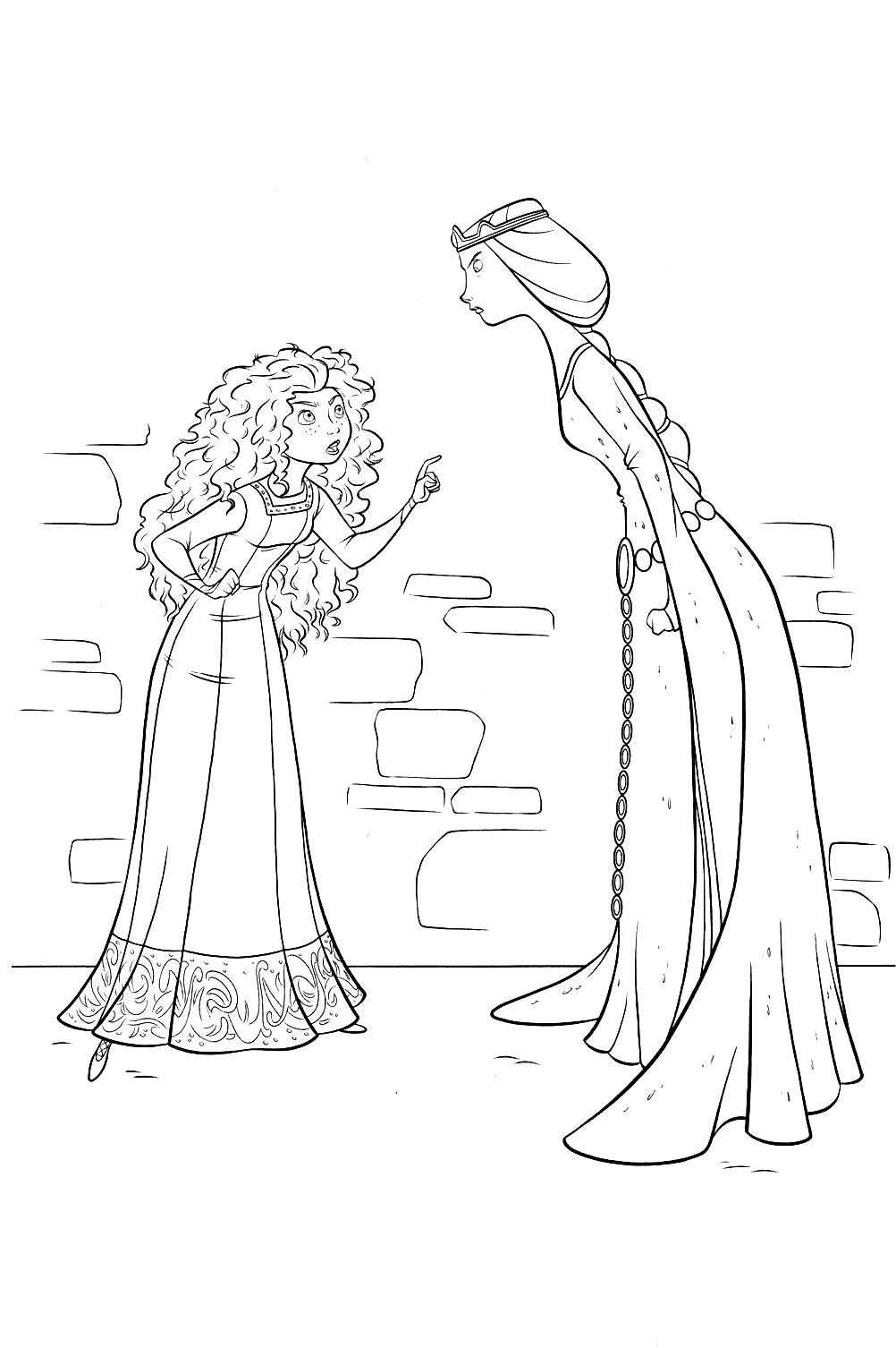 Princess Merida Was Talking At Her Friend Coloring Pages | Brave ...