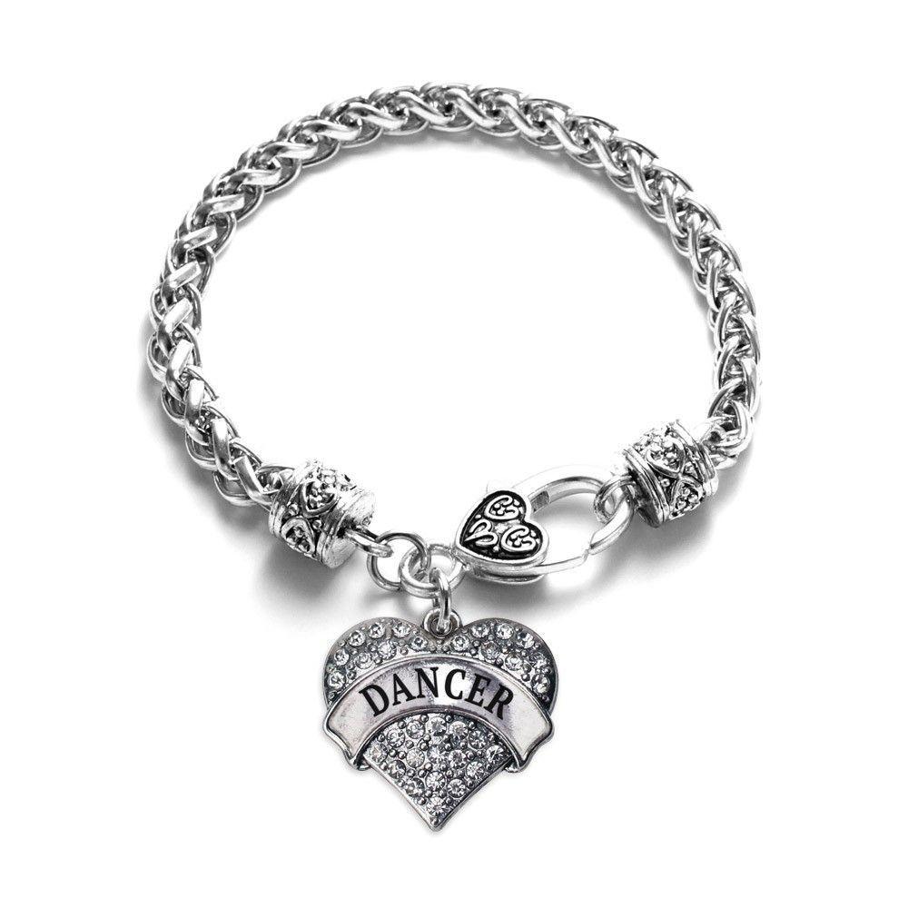 Dancer Pave Heart Charm Bracelet