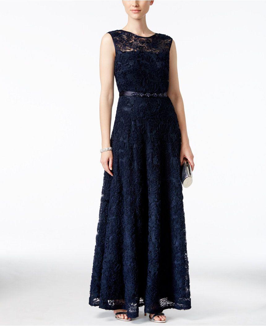 Tahari Asl Floral Soutache Belted Gown Dresses Women Macy S Floral Evening Dresses Navy Floral Dress Dresses [ 1053 x 860 Pixel ]