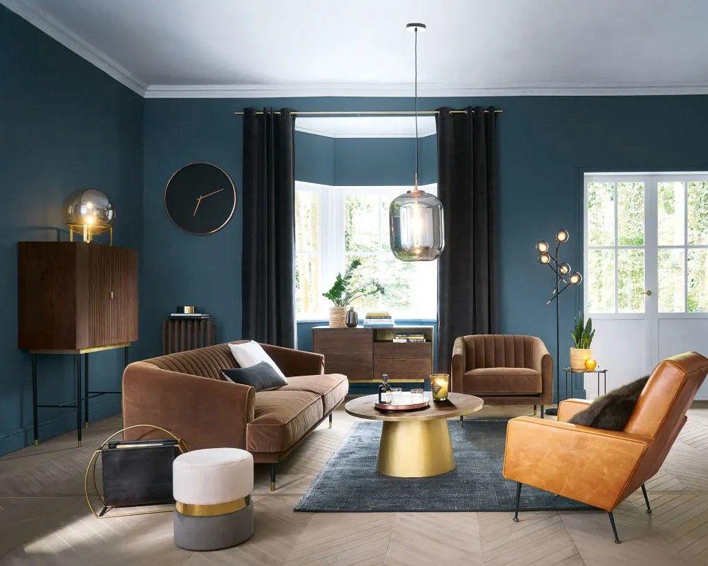 Canapé vintage 3 places Costello en velours marron ...