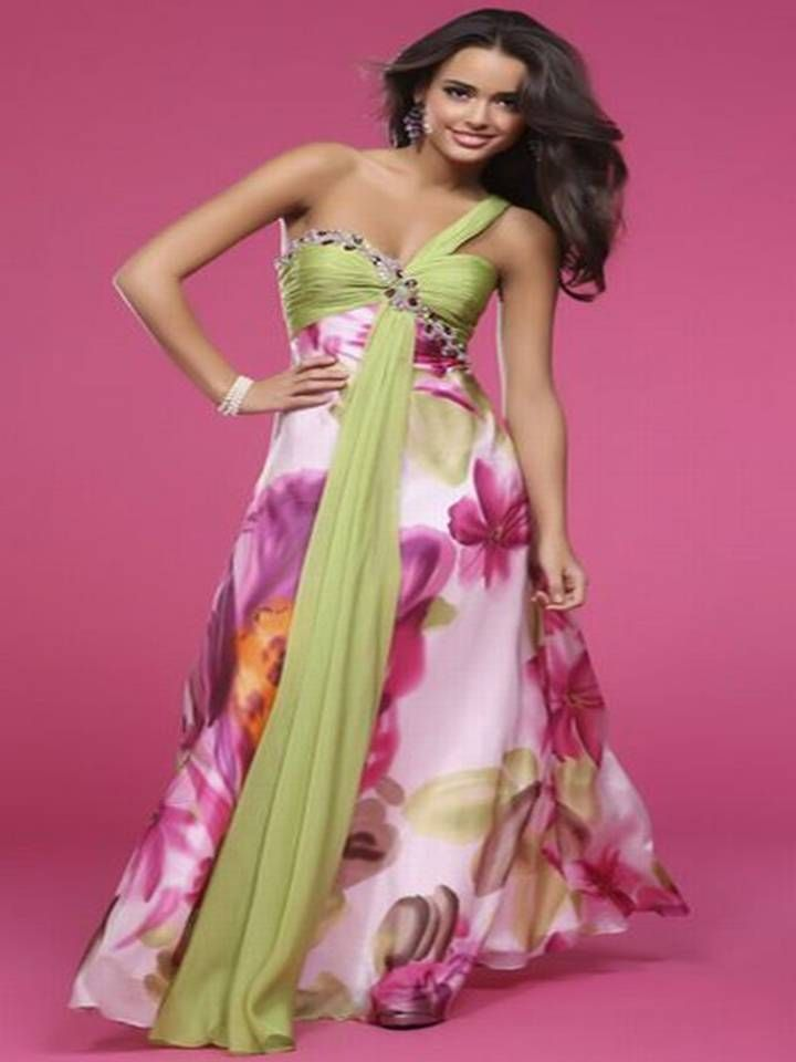 BG Haute Pink and Green Floral Print Prom Dress | Off to the Ball ...