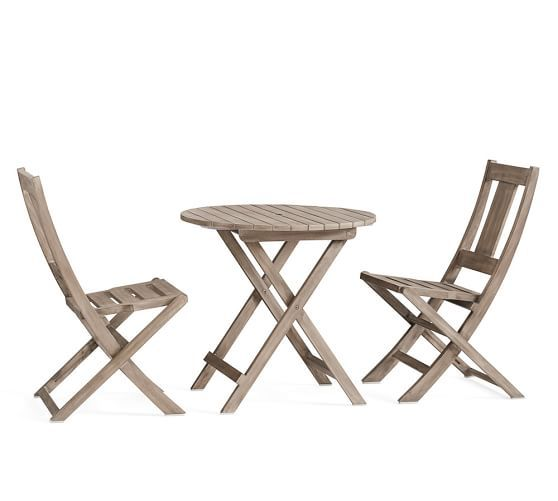 Superieur Indio Bistro Table U0026 Folding Side Chair Dining Set  Gray | Pottery Barn