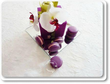 Macarons meringue française, ganache litchi avec insert de gélifié myrtilles cranberries.......