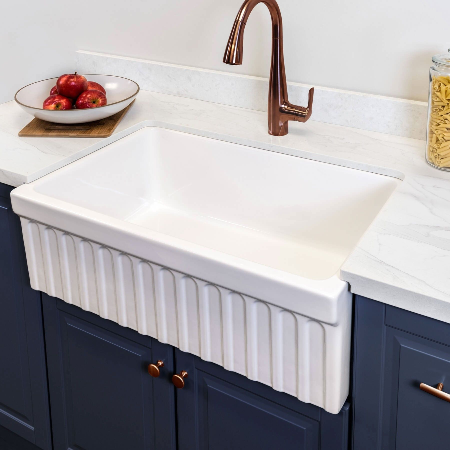 Victoria 30 Fireclay Farmhouse Kitchen Sink With Fluted Apron Farmhouse Sink Kitchen Comfortable Kitchen Sink Design