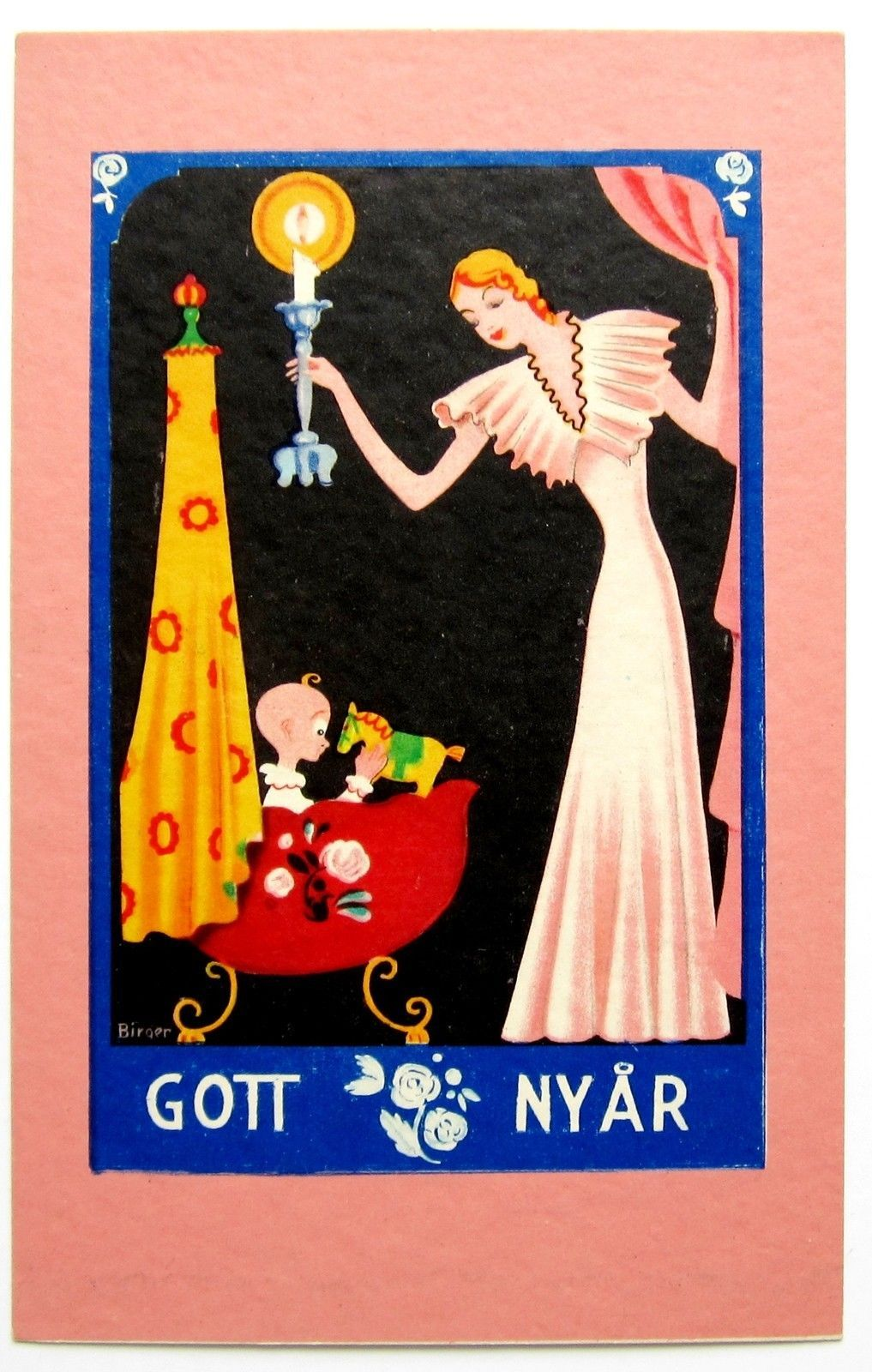 "Art Deco c. 1930 Vintage Swedish ""Happy New Year"" card"