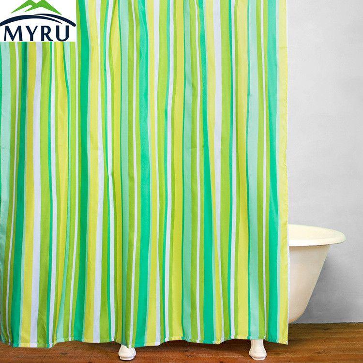 MYRU Polyester Waterproof Shower Curtain Green Striped Shower Curtains  Unique Shower Curtain For Bathroom
