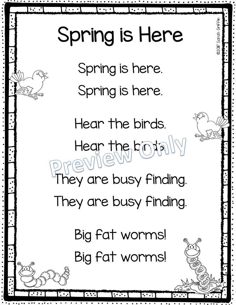 Spring is Here Printable Poem for Kids Poems for Kids