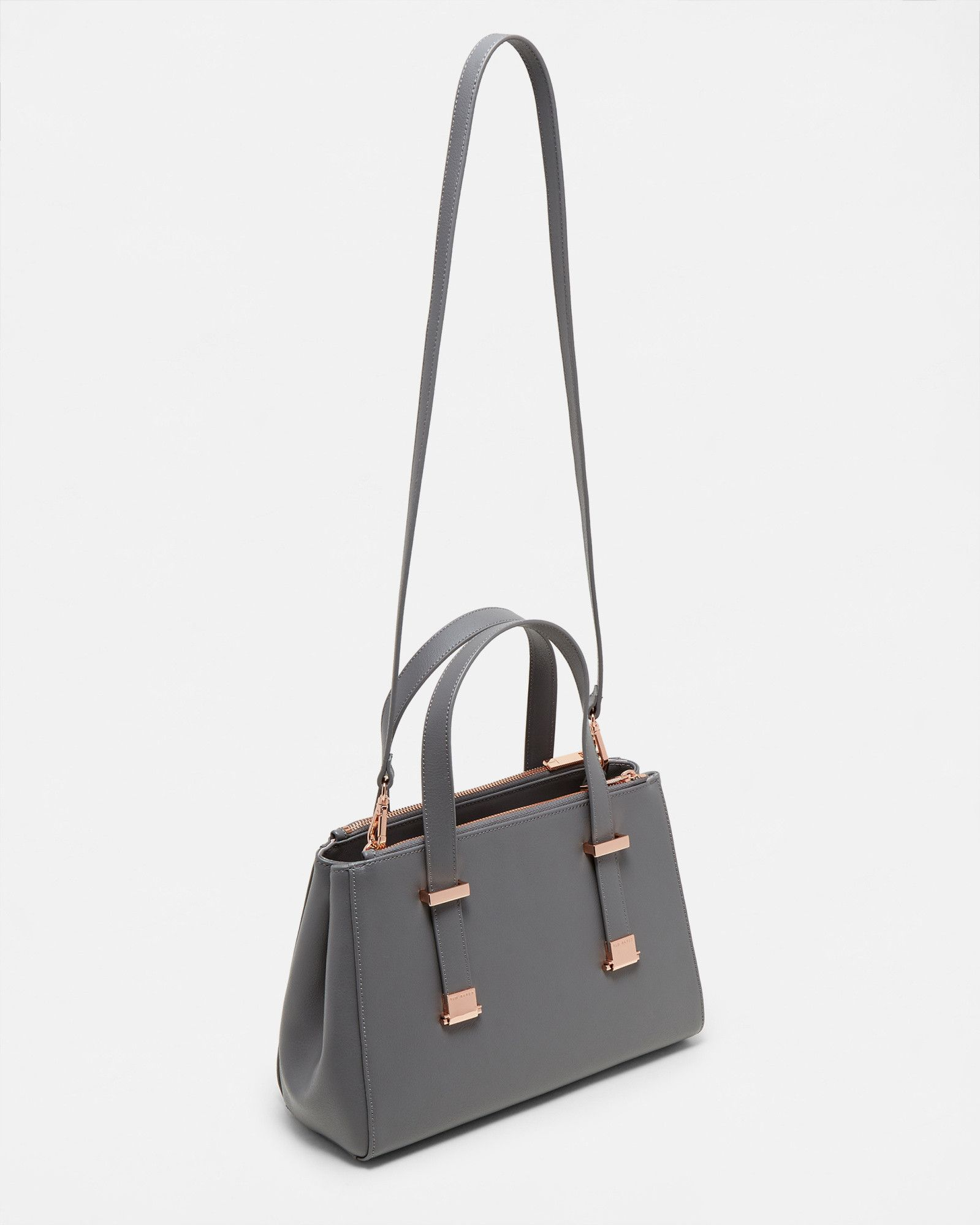 0baef5502b Small leather pebble grain tote bag - Mid Gray | Bags | Ted Baker ...