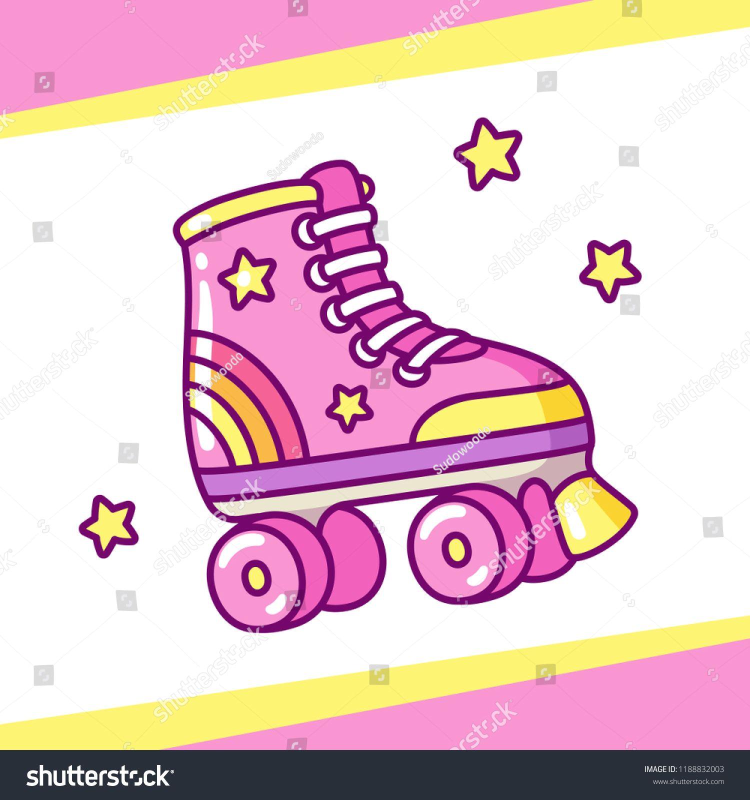Cute Retro Style Roller Skates Drawing Hand Drawn Cartoon Vector Illustration Roller Skates Style Cute Roller Skates Pink Roller Skates Cartoons Vector