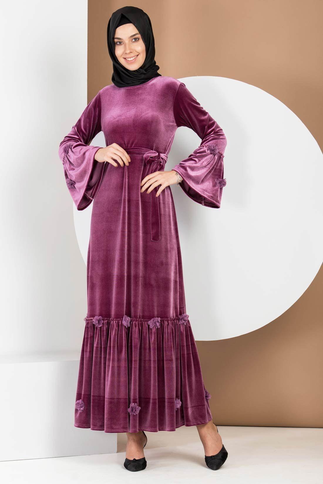 b7c0efbd7ac8d Valon Kol Gül Kurusu Kadife Elbise in 2019   tesettür giyim   Elbise ...