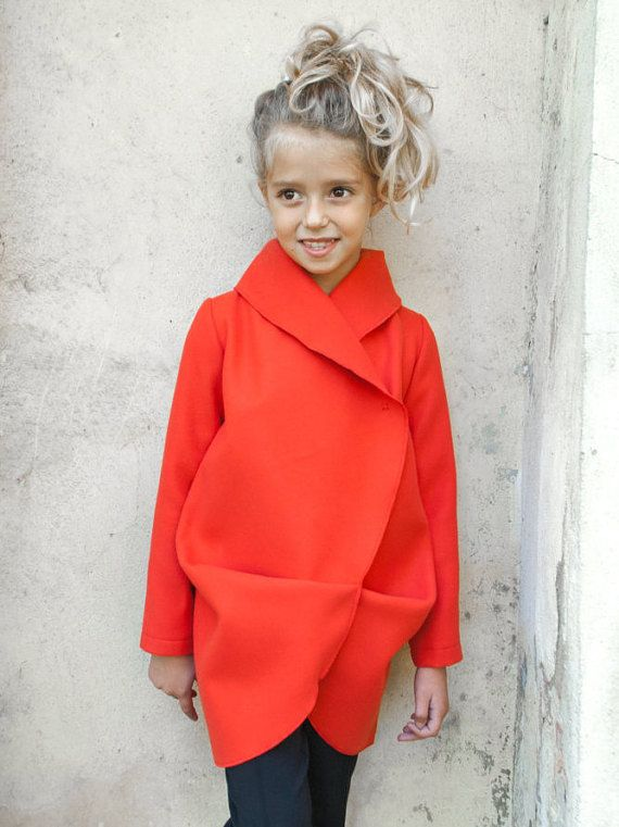 Girls shawl collar wool coat/Toddler girl winter coat/Red coat ...