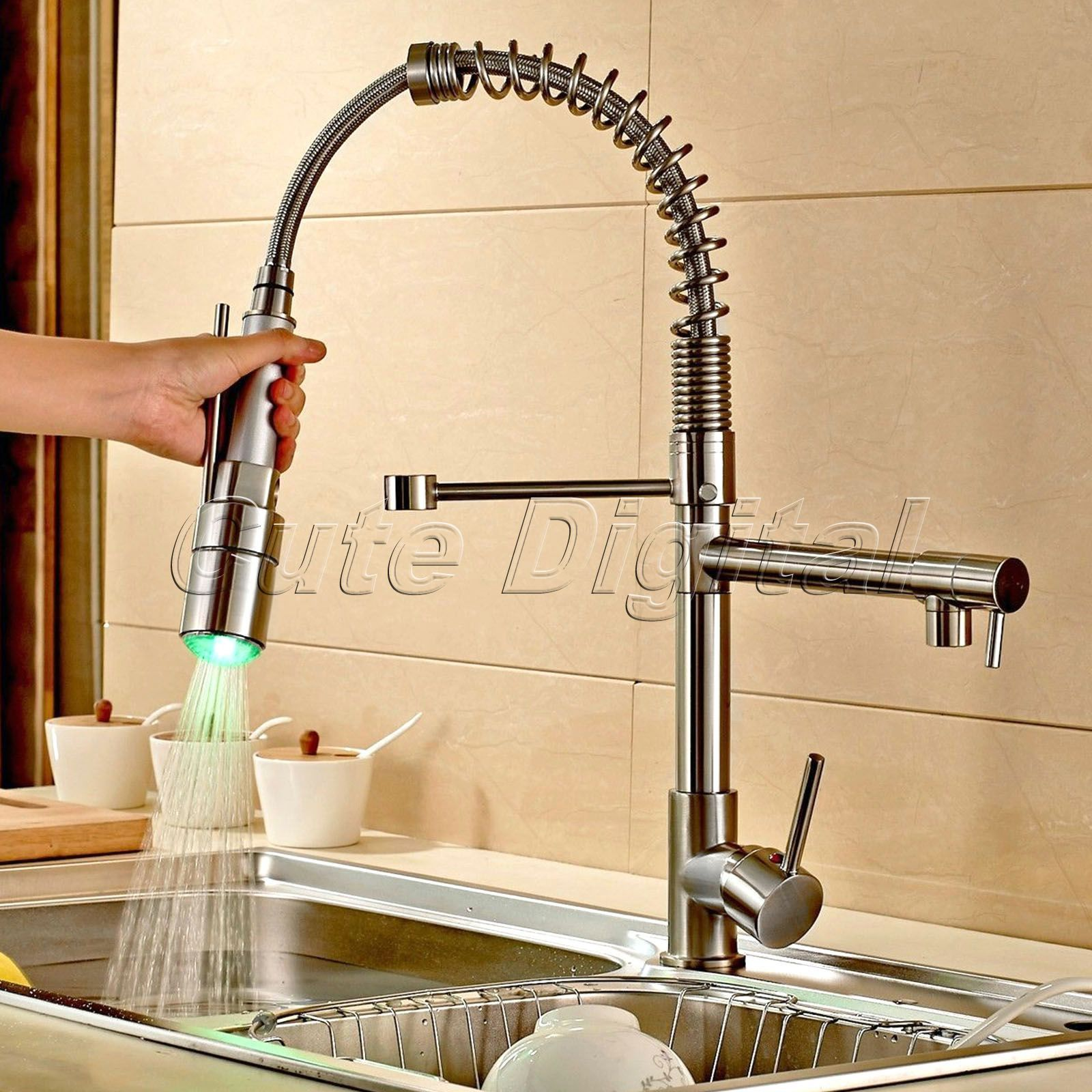 Wholesale Retail Led Colors Kitchen Sink Faucets Pull Down Sprayer