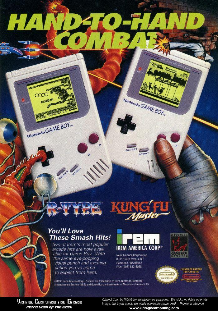 Game Boy Ad R Type Kung Fu Master 1991 Retro Video Games Gameboy Retro Gaming