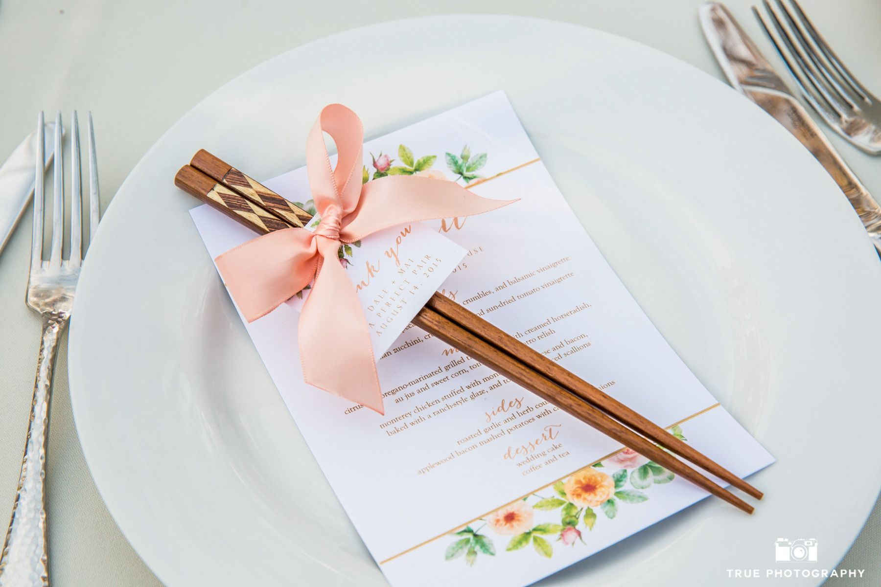 Chopsticks wedding favor at the Darlington House in La Jolla ...