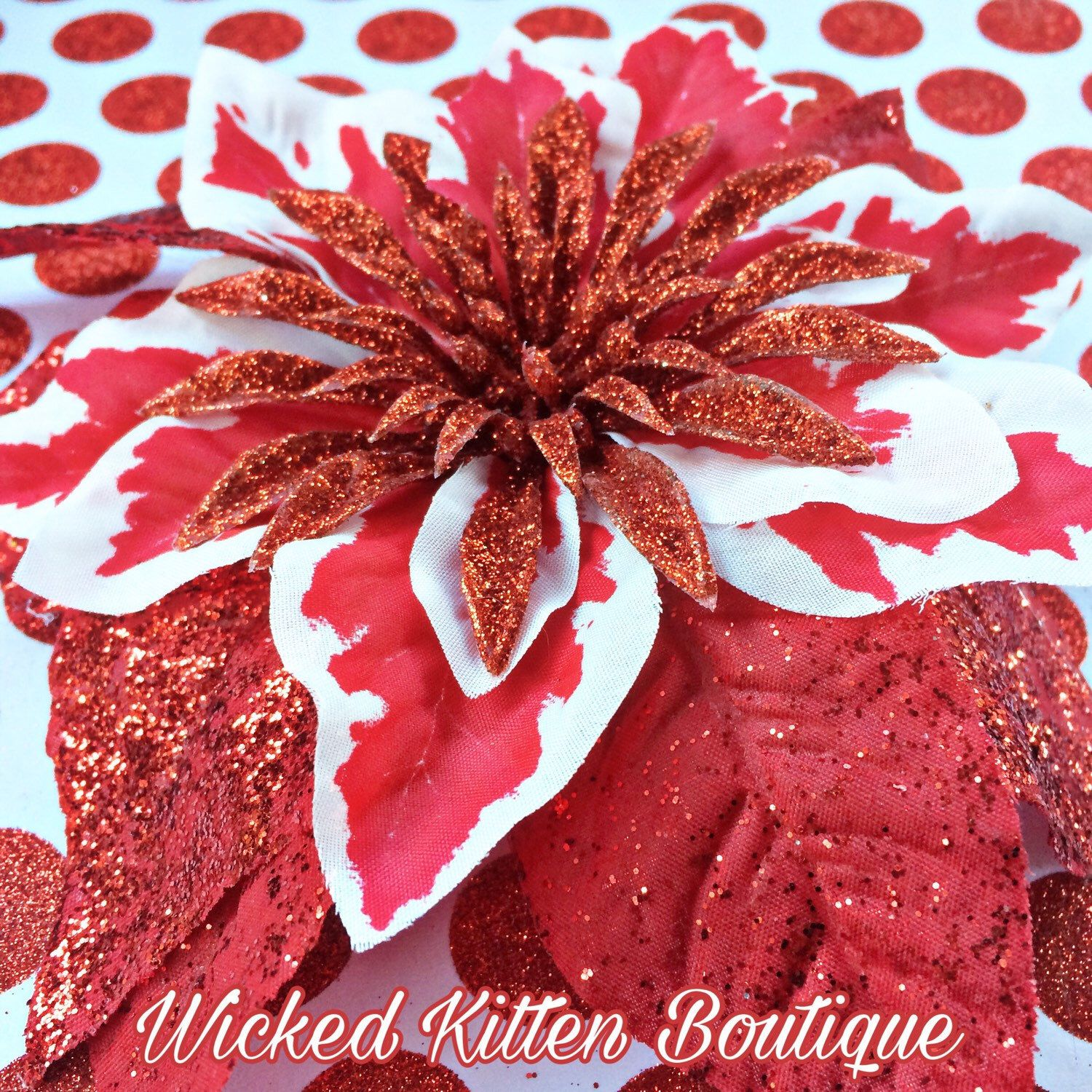 Poinsettia Hair Flowers Are Waiting For You In The Shop Prices Start At 6 Flowers In Hair Christmas Hair Accessories Glitter Flowers