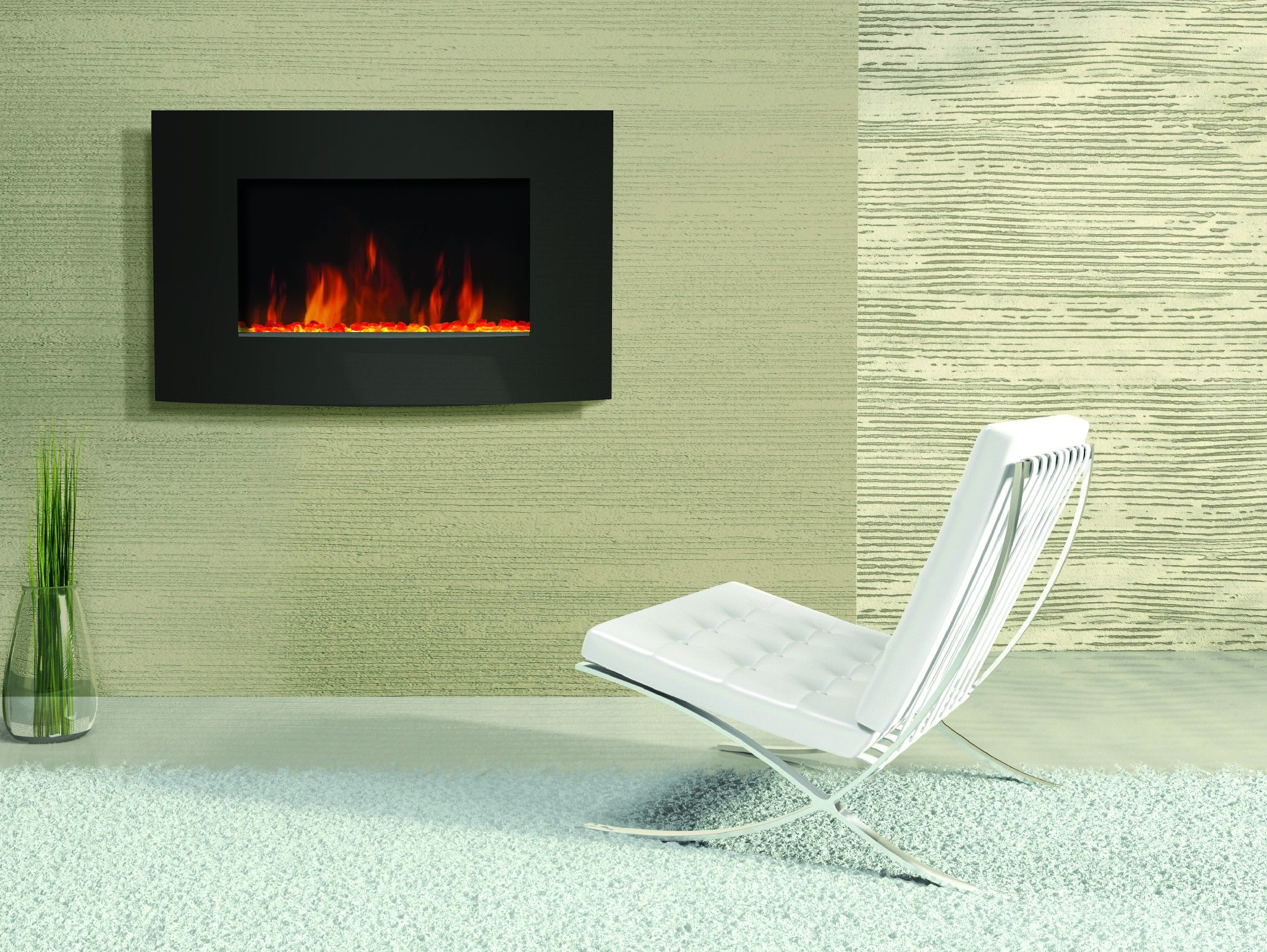 Amantii Horizontal Convex Electric Wall Mount Fireplace | Fireplaces ...