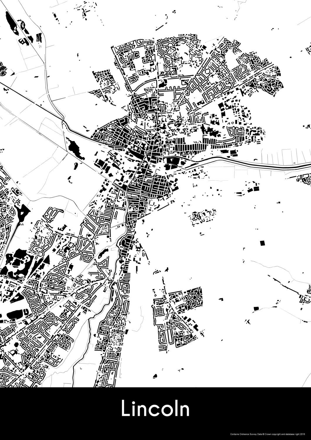 Lincoln Map Buildings Lincoln Print City Map Art Of Lincoln