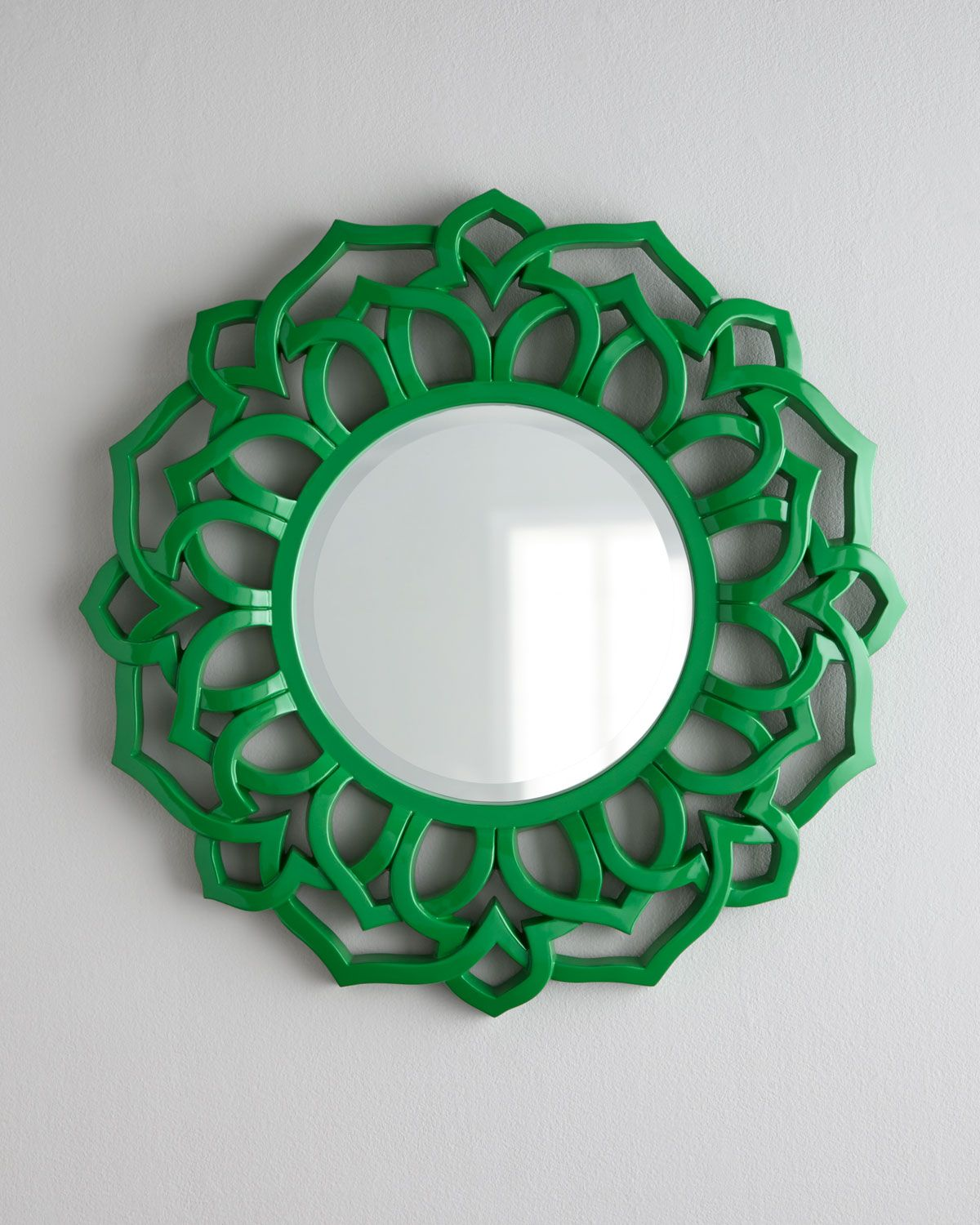 Green Chinois Mirror.  What a find! A trendy mirror in the hottest new color in a flower-shaped frame inspired by chinoiserie. (horchow.com)