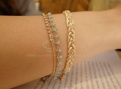 Tiny Beads and Rhinestone Embellished Double Bracelet