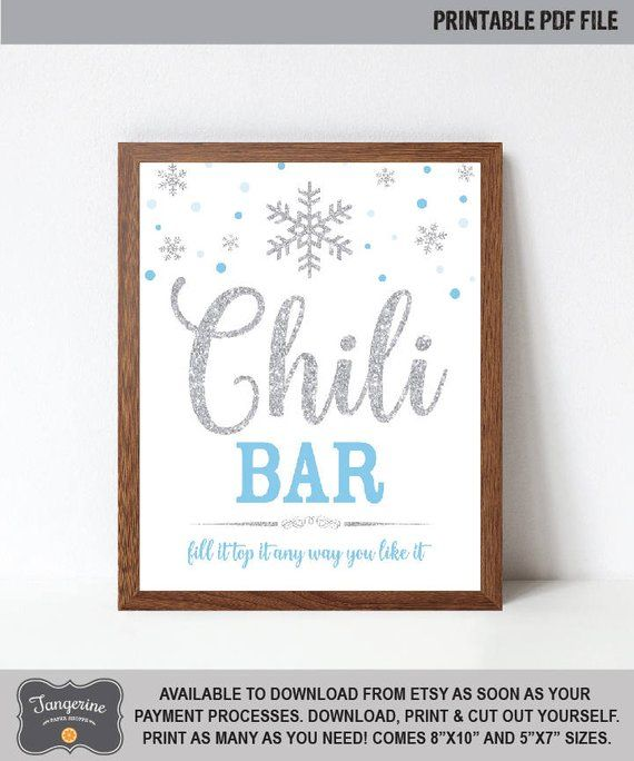 Chili Bar Sign Printable, Blue and Silver Winter ONEderland Chili Bar Table Sign, Winter ONEderland Sign, INSTANT DOWNLOAD #chilibar