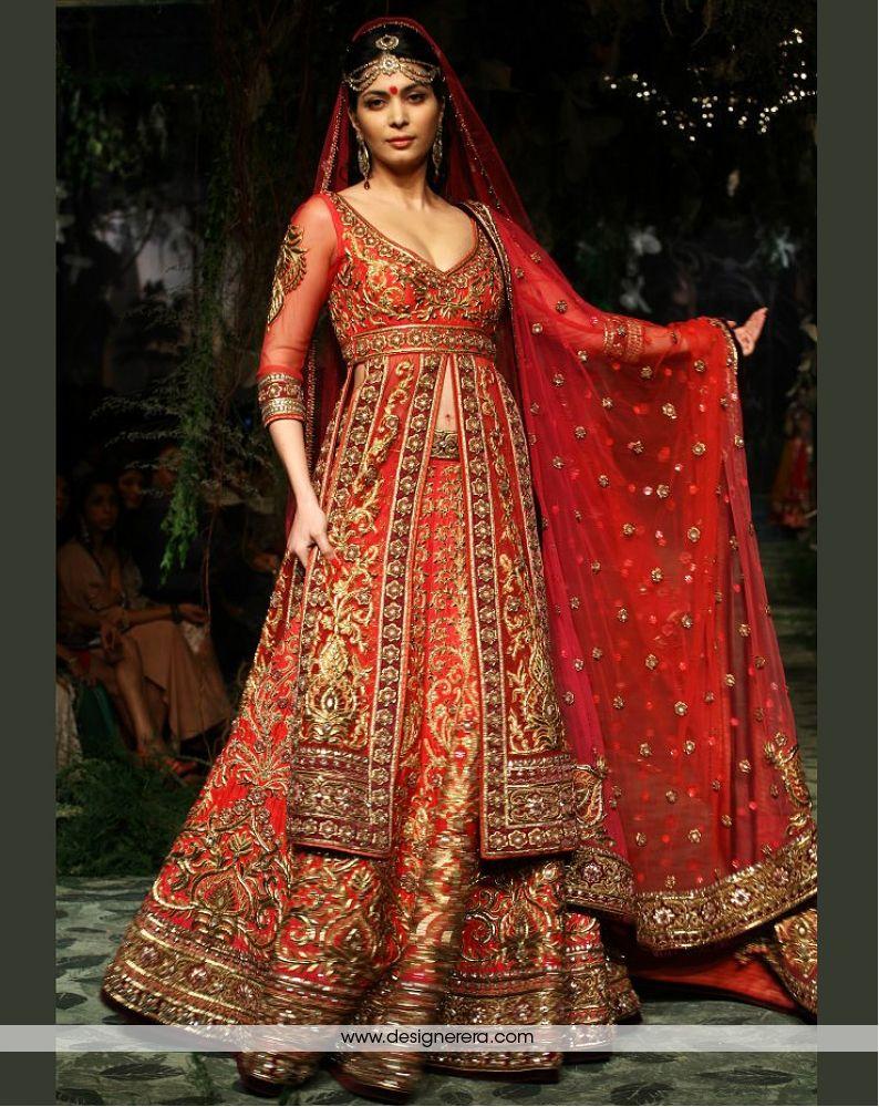 Chaniya Choli : Red and Orange Designer Silk Georgette Chaniya ...
