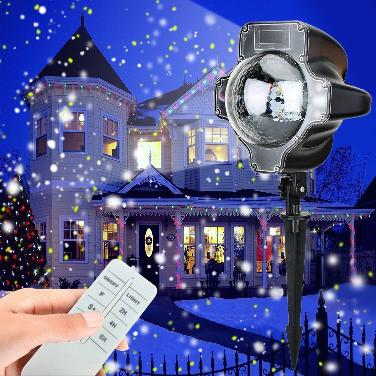snowfall led lights christmas waterproof rotating fairy snowflake projector lamp with wireless remote white snow projection light for christmas