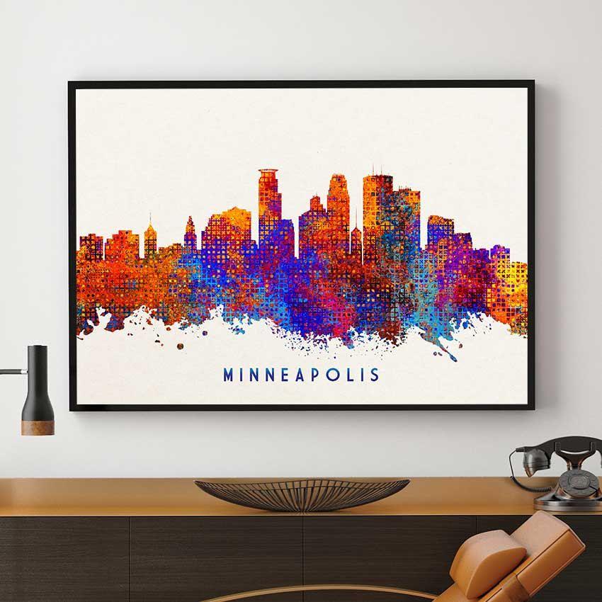 Minneapolis Skyline Print, Minneapolis Decor, Watercolor Skyline ...
