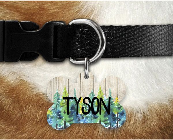 rustic tree dog tag personalized dog tag customized dog tag pet