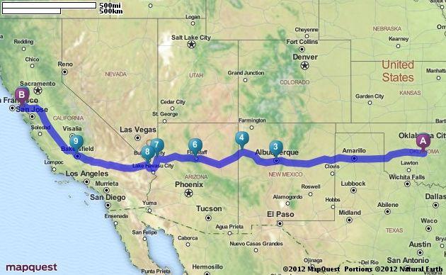 Driving Directions From Oklahoma City Oklahoma To San Francisco