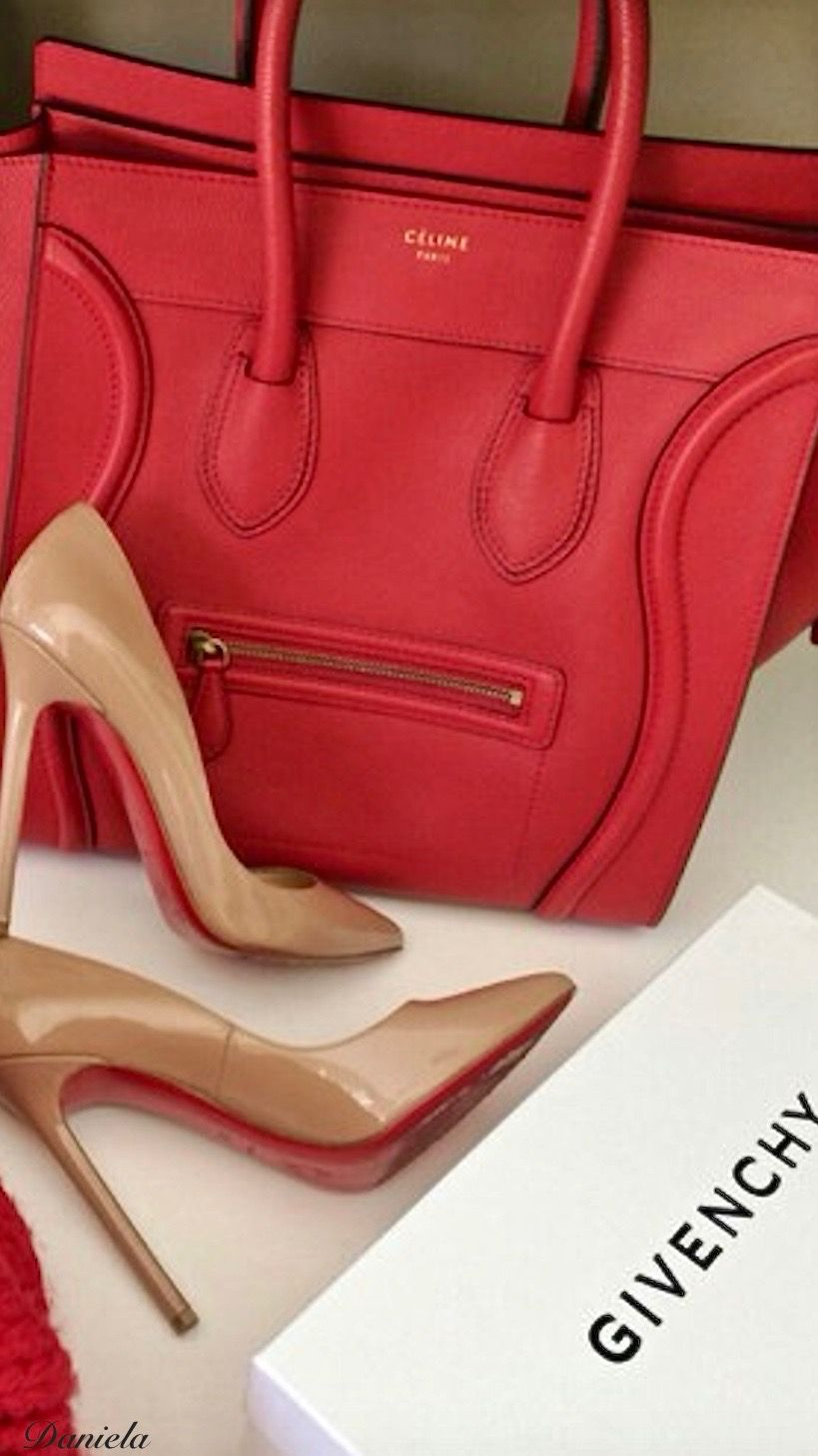 "1e4ad41217 Givenchy and Louibiton - Great solution to wear the nude shoe with a red bag  to avoid that dated ""matched"" look."