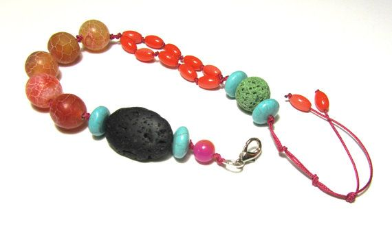 Agate bracelet-Volcanic lava-Turquoise by PlanetEarthHandmade