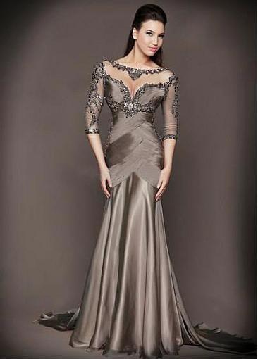 f1cbe509a032 Elegant Silk-like Chiffon Bateau Neckline Mermaid Evening Dress With Beaded  Lace Appliques,PD915