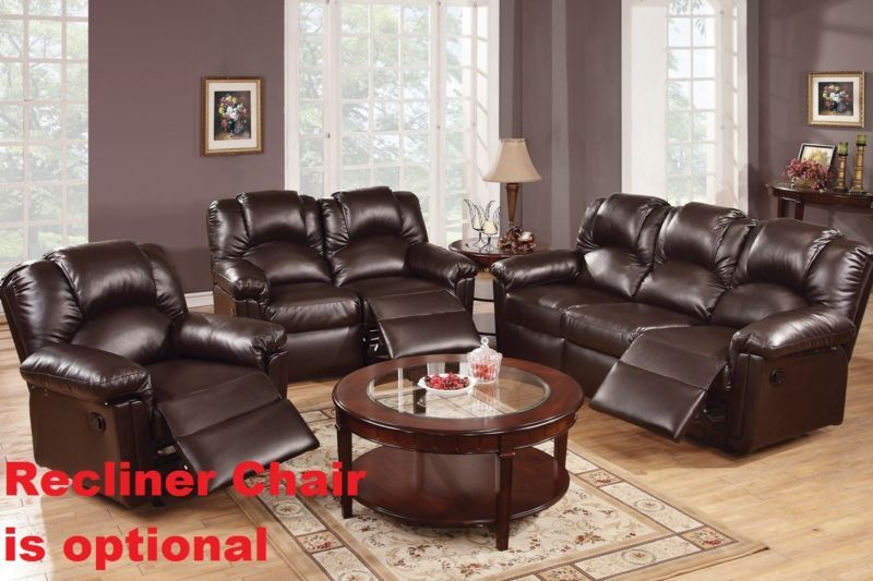 Motion Sofa Set Loveseat Bonded Leather Espreso Living Room Furniture