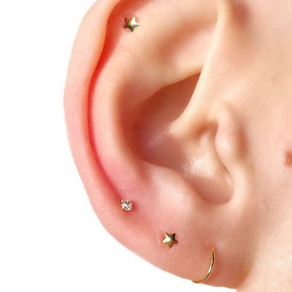 a583c2ffed4c0b MICRO Celestial Studs Cartilage Stud Star Stud Silver Helix Stud Tiny Stud  Earrings Tragus Stud Star