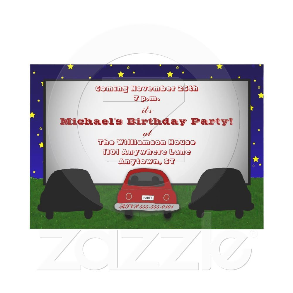 Drive-In Movie Theater Party Invitation from Zazzle.com | Party ...