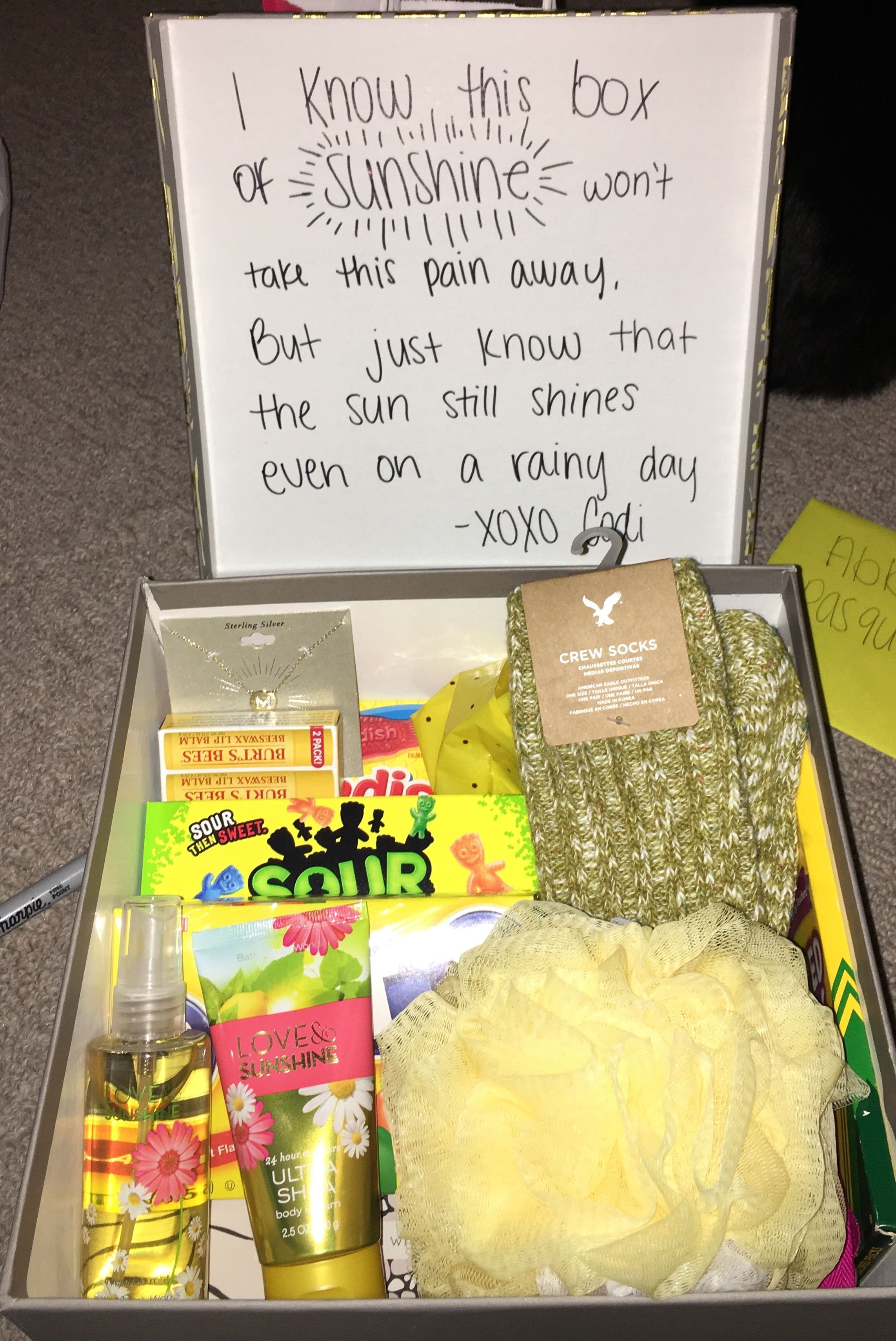 Care package for grieving friend good idea pinterest for Cute small gifts for friends