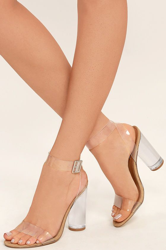 df3f56fb1e3d We can totally see you wearing the Steve Madden Clearer Clear Lucite Heels  with all of your stylish outfits! Clear lucite forms a slender toe strap
